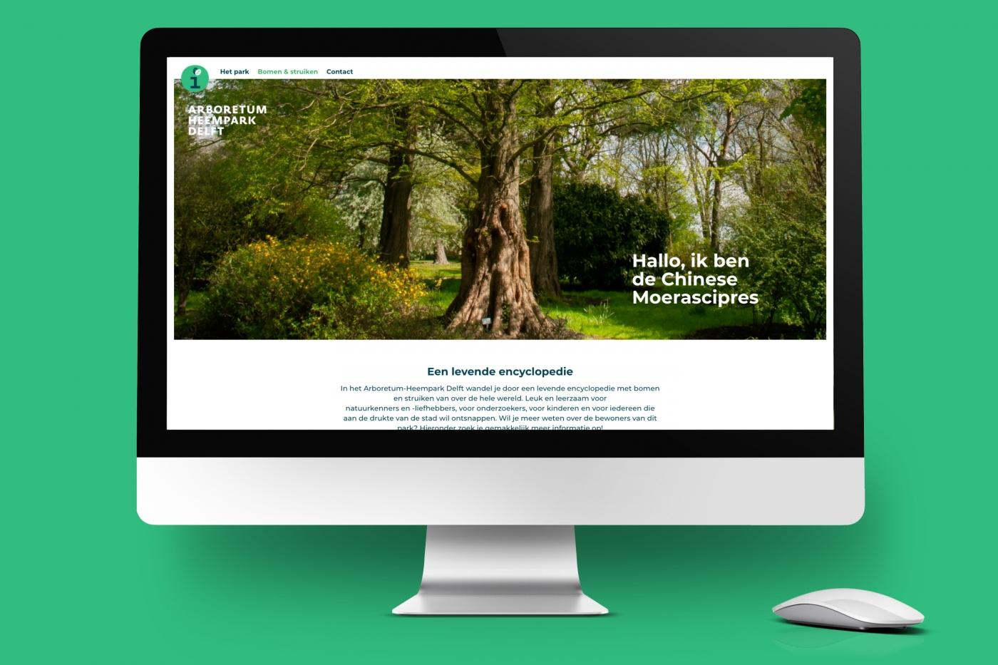 Website arboretum heempark Delft op desktop