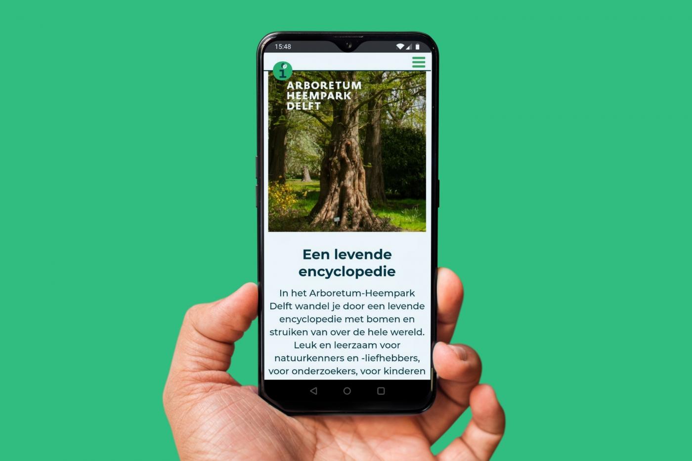 Mobiele website Arboretum Heempark Delft