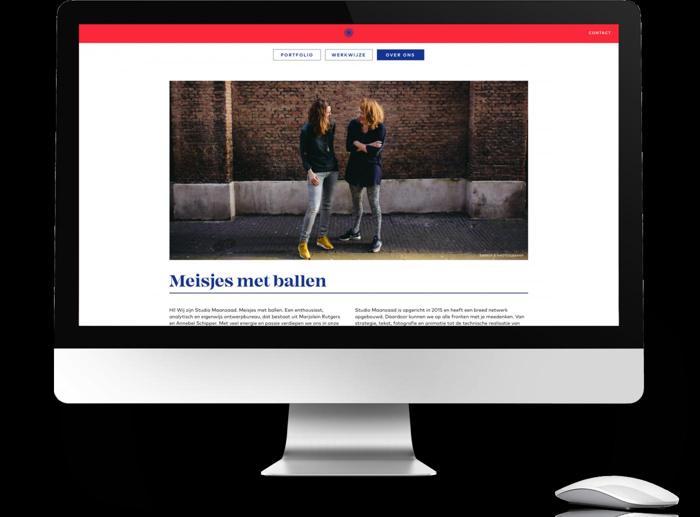 Meisje met ballen, een website voor studio maanzaad